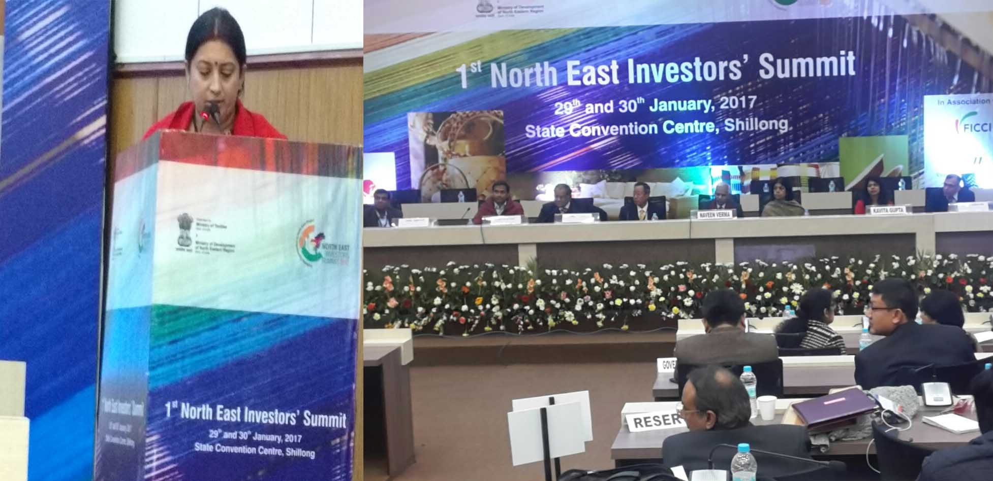 Smt. Smriti Zubin Irani, Hon'ble Union Minister of Textiles, Govt. of India deliberating her key note address at the 1st North East Investors' Summit held on 29-30 January at Shillong