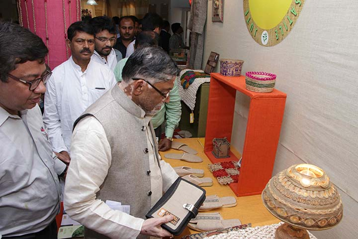 Hon'ble MOST Shri Santosh Kumar Gangwar at Exhibition Hall during National Seminar on Jute Diversified Products at Kolkata